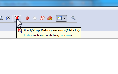 Start/Stop Debug Session ボタン